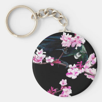 Tui Bird in the Cherry Blossoms Keychain