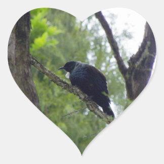 Tui in Rimu Tree Heart Sticker