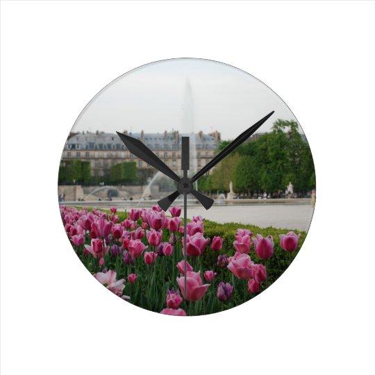 Tuileries Garden in bloom Round Clock