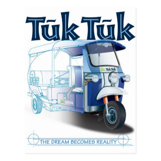 TukTuk Blue Print Postcard