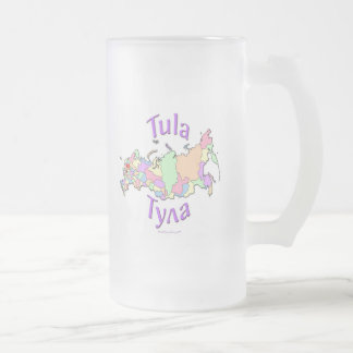 Tula City Russia Map Frosted Glass Beer Mug