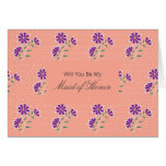 Tula Floral Batik Be My Maid of Honor Invitation Card