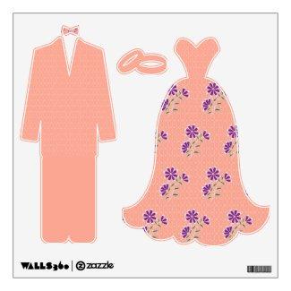 Tula Floral Batik Bride-Groom Wall Decal