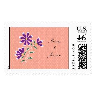 Tula Floral Batik Wedding Postage Stamp