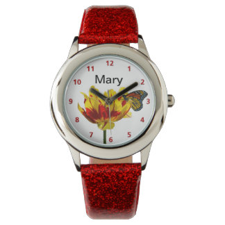 Tulip and Butterfly Customizable Name Watches