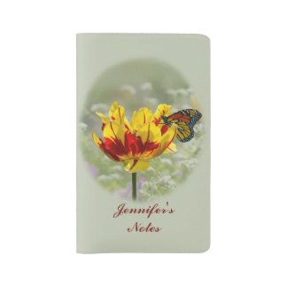 Tulip and Butterfly, Customizable Text Large Moleskine Notebook