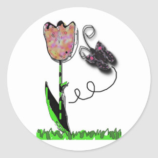 tulip and butterfly classic round sticker
