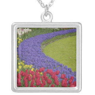 Tulip and Grape Hyacinth and daffodil garden, Silver Plated Necklace