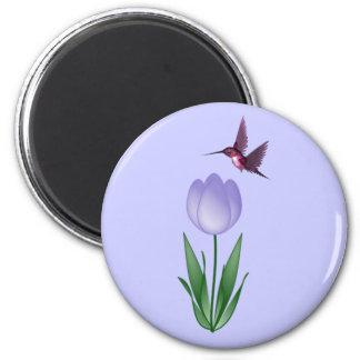 Tulip and Hummingbird 2 Inch Round Magnet