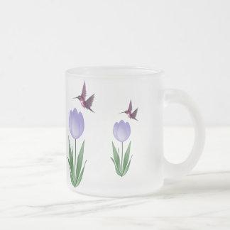 Tulip and Hummingbird Frosted Glass Coffee Mug
