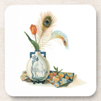 Tulip and Peacock Feather in a Vase Cork Coasters