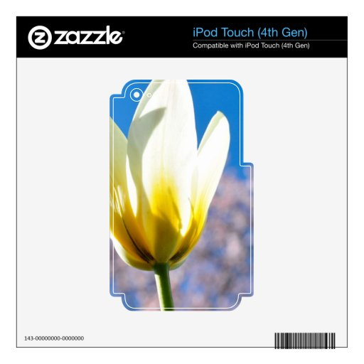 Tulip-and-sky1579 WHITE YELLOW TULIP FLOWER BLUE S Skins For iPod Touch 4G
