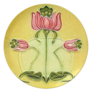 Tulip Arts and Crafts Tile Design Plastic Picnic Party Plates