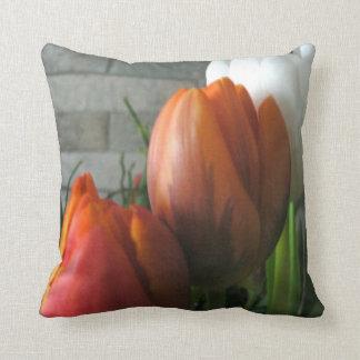 Tulip blooms American Mojo Throw Pillows