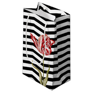 Tulip Botanical Chevron Stripe Pattern Small Gift Bag