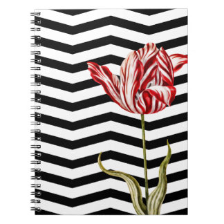Tulip Botanical Chevron Stripes Pattern Notebook