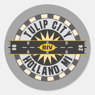 Tulip City BIV Airport Classic Round Sticker