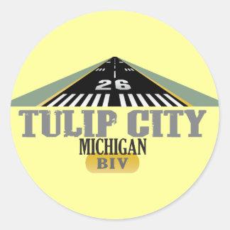 Tulip City MI - Airport Runway Classic Round Sticker