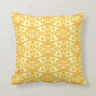 Tulip damask orange yellow throw pillow