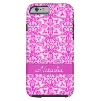 Tulip damask purple pink name iphone case