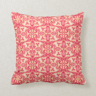 Tulip damask red pink throw pillow