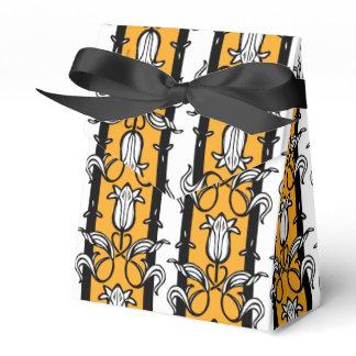 Tulip damask yellow black white patterned gift box