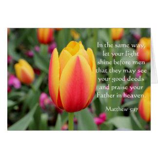 Tulip Easter Card w Bible Verse (Matthew 5:17)