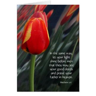 Tulip Easter Card w/ Bible Verse (Matthew 5:17)