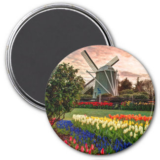 Tulip Festival 3 Inch Round Magnet