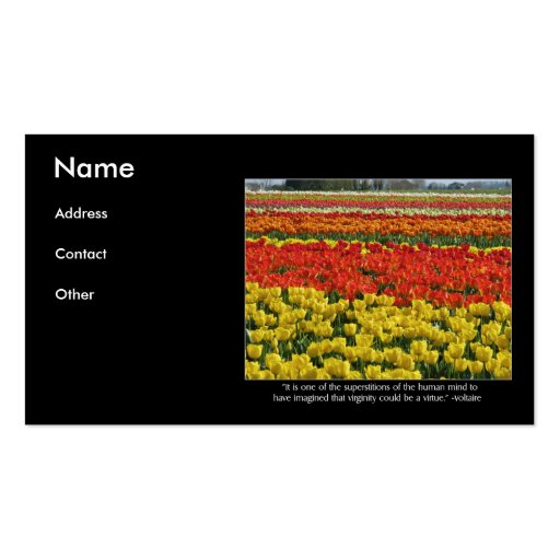 Tulip Field and Voltaire Quote Business Card Template
