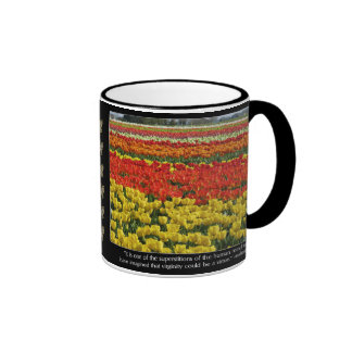 Tulip Field and Voltaire Quote Ringer Coffee Mug