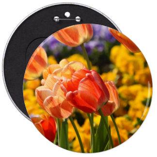 tulip field pinback button