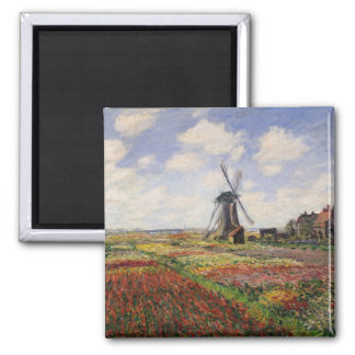 Tulip Fields with the Rijnsburg Windmill, 1886 2 Inch Square Magnet