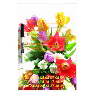 Tulip Flower Bouquet Perpetual Calendar Dry-Erase Board