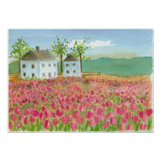 Tulip Flower Field Shaker House Pink Spring Flora Poster