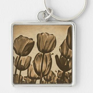 Tulip Flower Retro Old Fashion Photograph Keychain
