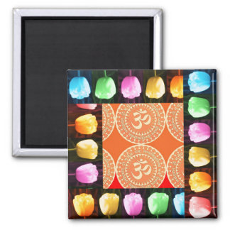 TULIP Flower Show and OM MANTRA OmMantra in Centre Refrigerator Magnet