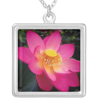 Tulip Flower - Square Sterling Silver Necklace