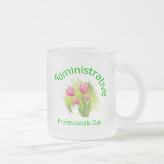 Tulip Flowers Administrative Professionals Day Frosted Glass Coffee Mug