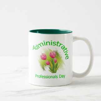 Tulip Flowers Administrative Professionals Day Two-Tone Coffee Mug
