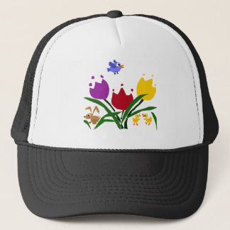 Tulip Flowers and Bunny, Ducks, and Bluebird Trucker Hat