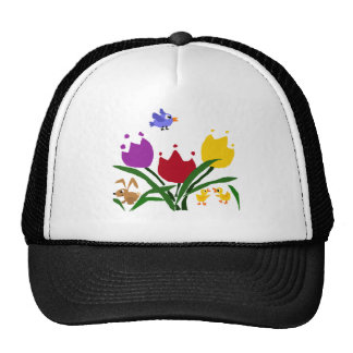 Tulip Flowers and Bunny, Ducks, and Bluebird Trucker Hat