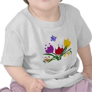 Tulip Flowers and Bunny Ducks and Bluebird T Shirts