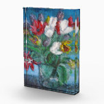 """Tulip Flowers Bouquet Floral Paperweight Acrylic Award<br><div class=""""desc"""">Tulip flowers bouquet floral paperweight acrylic block artwork. Colorful yellow,  white,  red and purple flower bouquet in a vase in a blue room still life post impressionist fine art painting print paper weight.</div>"""
