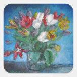 Tulip Flowers Bouquet Vase Floral Square Sticker