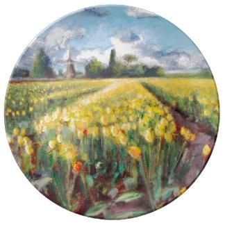 Tulip Flowers Bulb Fields Art Plate