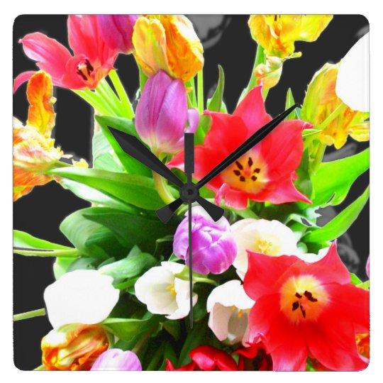 Tulip Flowers Clock