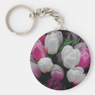 Tulip flowers custom photo keychain for florist
