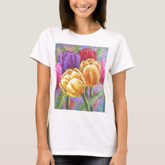 Tulip Flowers Floral Painting Art - Multi T-Shirt
