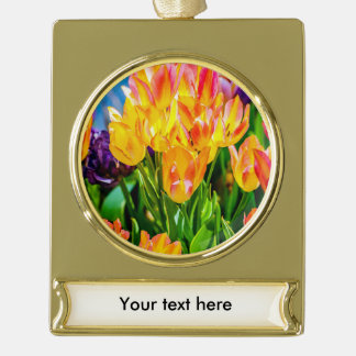 Tulip Flowers - Flourish Gold Plated Banner Ornament